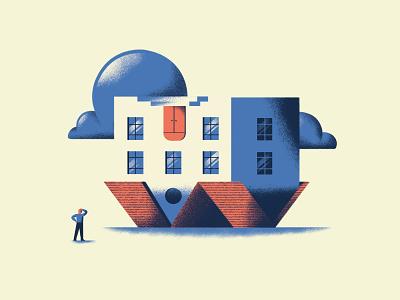 Empezar la casa por el tejado house illustration proverb upside down house book texture dsgn illustration daniele simonelli