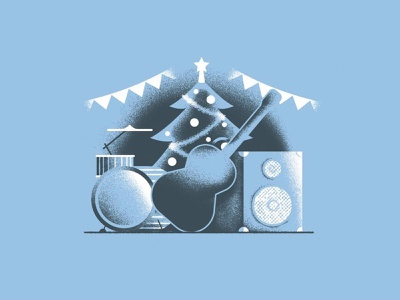 Rock this Christmas instruments music rock christmas editorial illustration texture dsgn illustration daniele simonelli