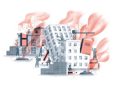 How art can be a beacon of hope in Syria - UGent Magazine smoke war city art war spot illustration editorial illustration vector texture dsgn illustration daniele simonelli