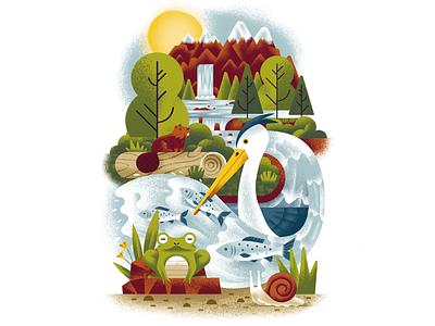 Western Resource Advocates - River animals wildlife nature illustration ecosystem heron beaver snail frog river nature texture dsgn illustration daniele simonelli