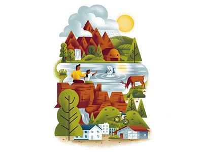 Western Resource Advocates Ecosystem nature wilderness wild mountains lake wildlife ecosystem texture dsgn illustration daniele simonelli