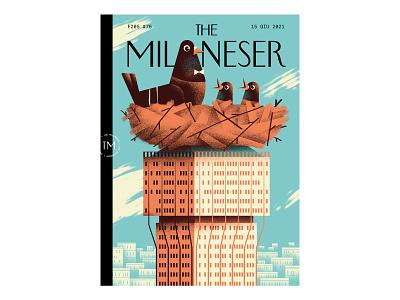 The Milaneser #76 milan pigeon cover illustration editorial illustration texture dsgn daniele simonelli illustration