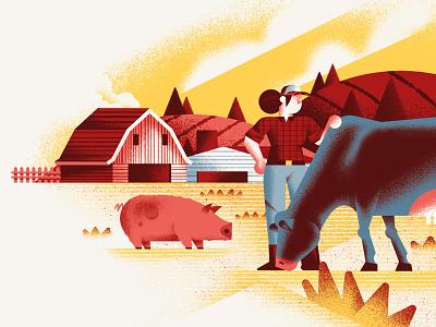 Pasta Casalinga - From the farm restaurant farmer pig cow farm vector texture dsgn illustration daniele simonelli