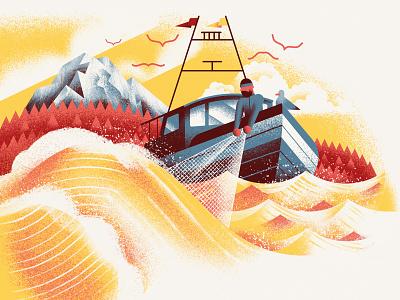 Pasta Casalinga - From the Ocean waves fishing ship ocean sea vector texture dsgn illustration daniele simonelli