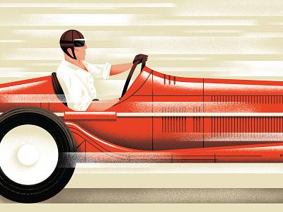 Match Point - Tazio Nuvolari racer car nuvolari racing sport vector texture illustration daniele simonelli dsgn