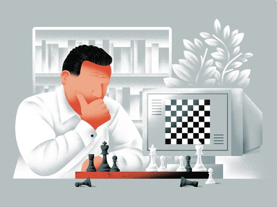 Match Point - Kasparov kasparov computer chess player chess vector texture dsgn illustration daniele simonelli