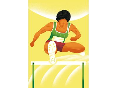 Match Point - Nawal El Moutawakel run hurdling jump vector texture dsgn illustration daniele simonelli