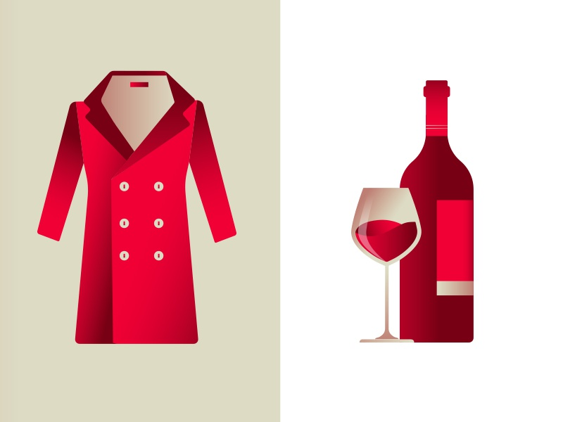 Italy quality products red jacket gradient glass wine icons illustrations daniele simonelli