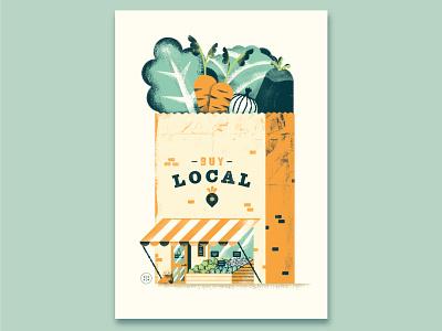 Buy local shopper bag market shop buy local vegetables poster illustration daniele simonelli