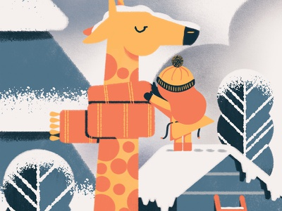 Winter giraffe zoo snow texture vector winter scarf giraffe illustration daniele simonelli