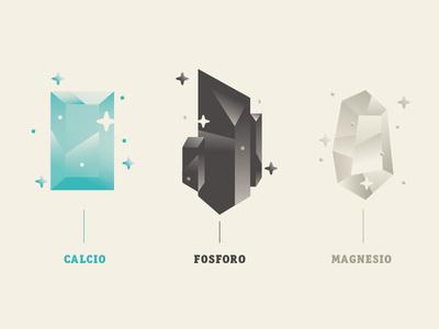 Crystals gems magnesium phosphorus mineral calcium crystals vector flat infographic illustration dsgn daniele simonelli