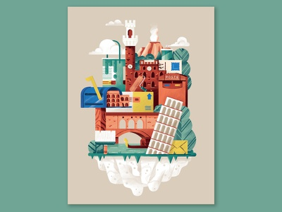 Poste World paint monuments mail floating island world island italy composition illustration daniele simonelli dsgn