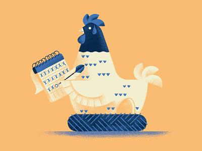 Better an egg today than a hen tomorrow chicken calendar proverb egg hen illustration daniele simonelli dsgn