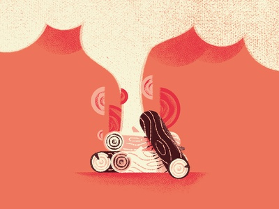There's no smoke without fire texture smoke logs wood campfire fire proverb illustration daniele simonelli dsgn