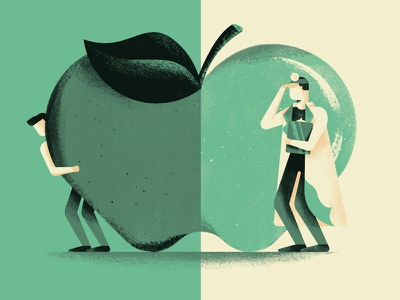 An apple a day... health apple a day doctor apple proverb illustration daniele simonelli dsgn
