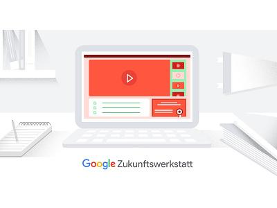 Google Digital Garage room student computer adv video google illustration daniele simonelli dsgn