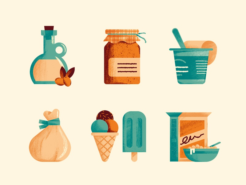 The Italian factory jam cereal breackfast icon icecream burrata yogurt food icons illustration daniele simonelli dsgn