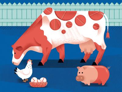 Farms on antibiotics antibiotics pill pig hen chicken cow farm editorial illustration illustration daniele simonelli dsgn