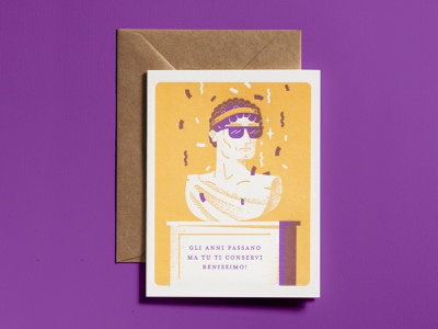 Letterpress greeting card card dsgn letterpress statue birthday greeting cards illustration