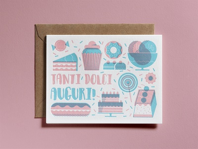 Sweet wishes letterpress birthday card overlay icecram muffin cake sweets sweet dsgn