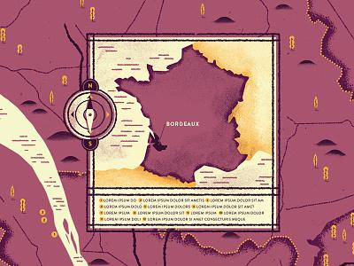 Bordeaux map illustration key bordeaux france compass map dsgn
