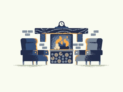 Fireplace cosy spot illustration living room fireplace texture dsgn illustration daniele simonelli