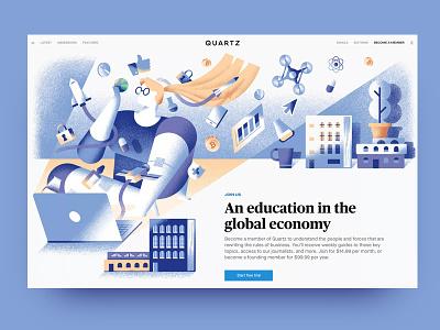 Quartz - become a member page vector texture light computer girl business economy quartz web illustration illustration dsgn
