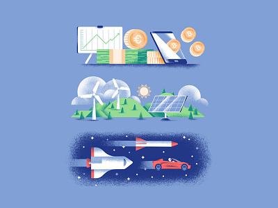 Quartz illustration wind turbine solar panel hills shuttle tesla space green energy economy editorial illustration vector texture illustration daniele simonelli dsgn