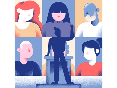 Quartz - become a member dsgn daniele simonelli illustration texture vector editorial illustration people speaking wall grid people grid
