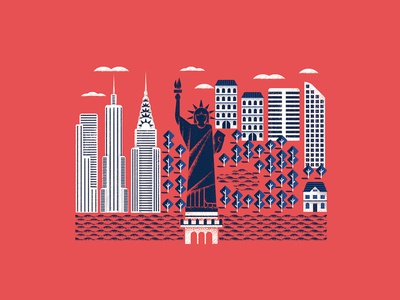 Manhattan liberty statue manhattan editorial illustration vector texture dsgn illustration daniele simonelli