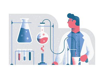 Quartz - Morning lab science illustration chemistry scientist science editorial illustration vector texture dsgn illustration daniele simonelli