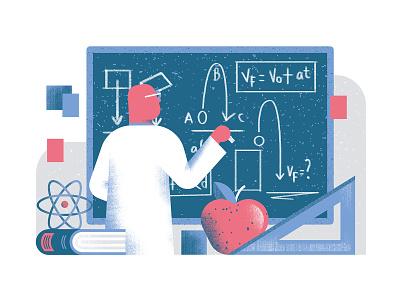 Quartz - Afternoon scientist problem physicist physics math science editorial illustration vector texture dsgn illustration daniele simonelli