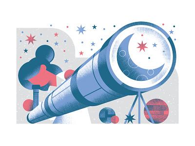Quartz - Evening astronomer science illustration stars telescope planet planets astronomy scientist science editorial illustration vector texture dsgn illustration daniele simonelli