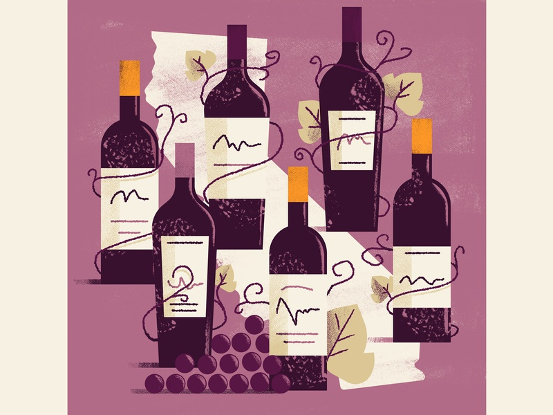WineExpress - California's Cabernet wine bottle grape california wine california wine editorial illustration vector texture dsgn illustration daniele simonelli