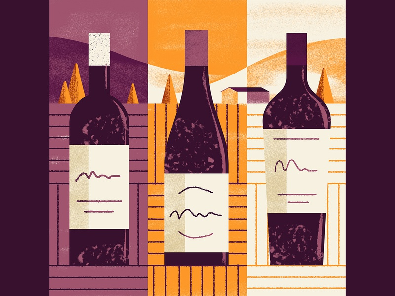 WineExpress - 3 Rich Reds fields country hills wine bottle bottle wine editorial illustration vector texture dsgn illustration daniele simonelli