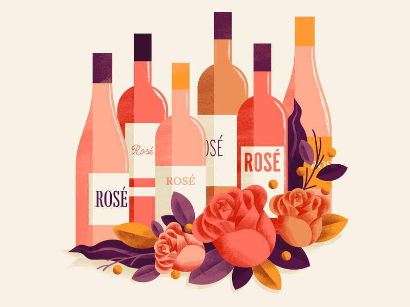 WineExpress - Rosè flowers wine bottle wine illustration rosè roses wine bottles wine editorial illustration vector texture dsgn illustration daniele simonelli
