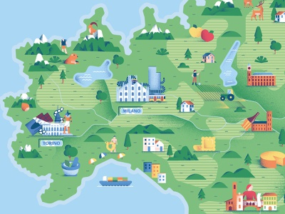 Nutella Gemella - Map Details illustrated map italy map ferrero nutella map vector texture dsgn illustration daniele simonelli