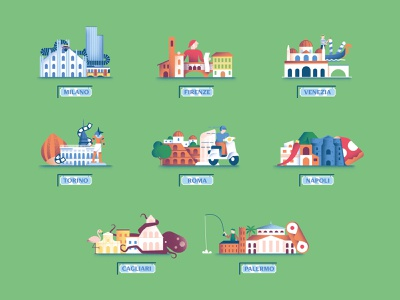 Nutella Gemella - Cities naples venice florence rome milan city illustration city map cities vector texture dsgn illustration daniele simonelli