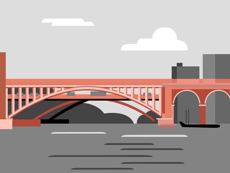 Hamilton, New Zealand red bridge typography vector art minimal flat beautiful graphic art vector illustration design color