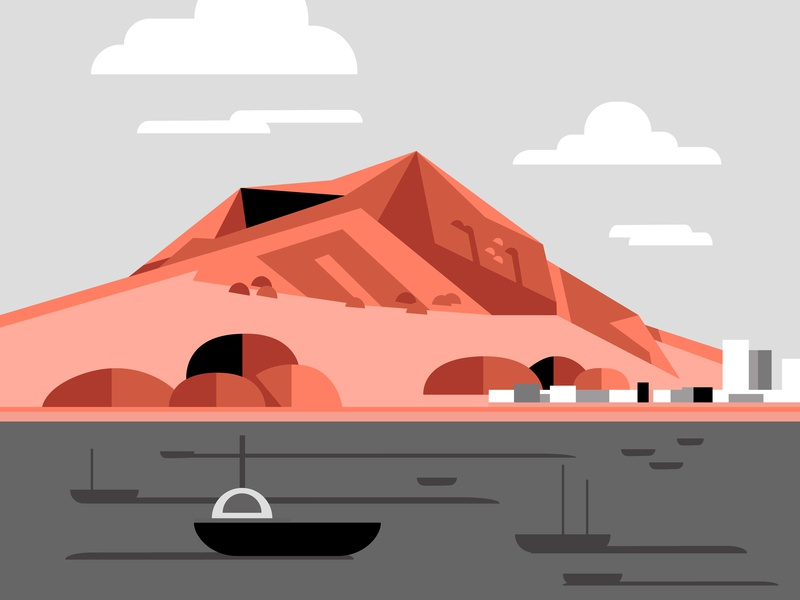 Tauranga, New Zealand, Mount Maunganui water reddit ocean sea boat mountain vector art minimal flat beautiful graphic art vector illustration design color