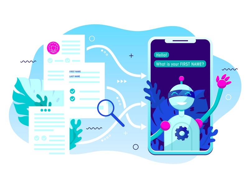 Online form being transformed into a Chatbot conversation chat blue vector art minimal flat beautiful graphic art vector illustration design color