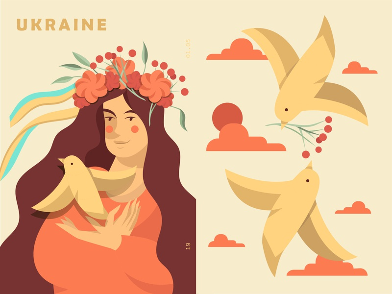 Ukrainian girl ukraine warm graphic birds poster patriotic hair girl vintage typography flat minimal vector art beautiful graphic art vector illustration design color
