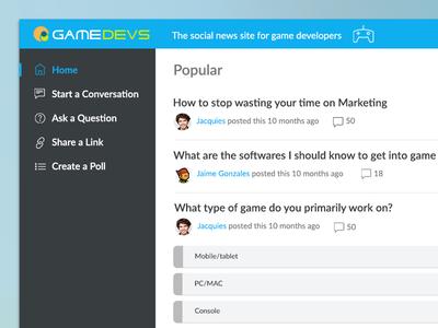 Simple Game Forum Design user interface responsive web design application design app