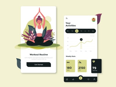Fitness App Design illustration flat fitness app fitness onboarding ui onboarding screen ux ui minimal design app