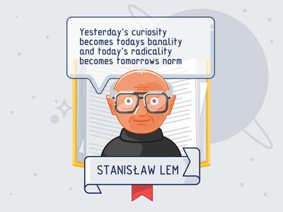 Polish Idols - Stanislaw Lem poland solaris space persona quote writer author books celebrity person charachter design charcter illustration