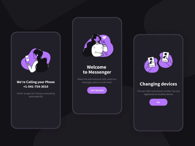 Messenger. Light and Dark Mode 2019 switch theme design system welcome dark and light mode dark mode illustration