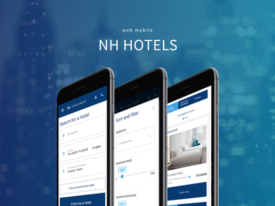 NH Hotels room search blue hotel hotels mobile design webmobile
