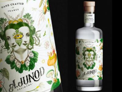 A. Junod Label packaging lettering belle epoque cap label absinthe