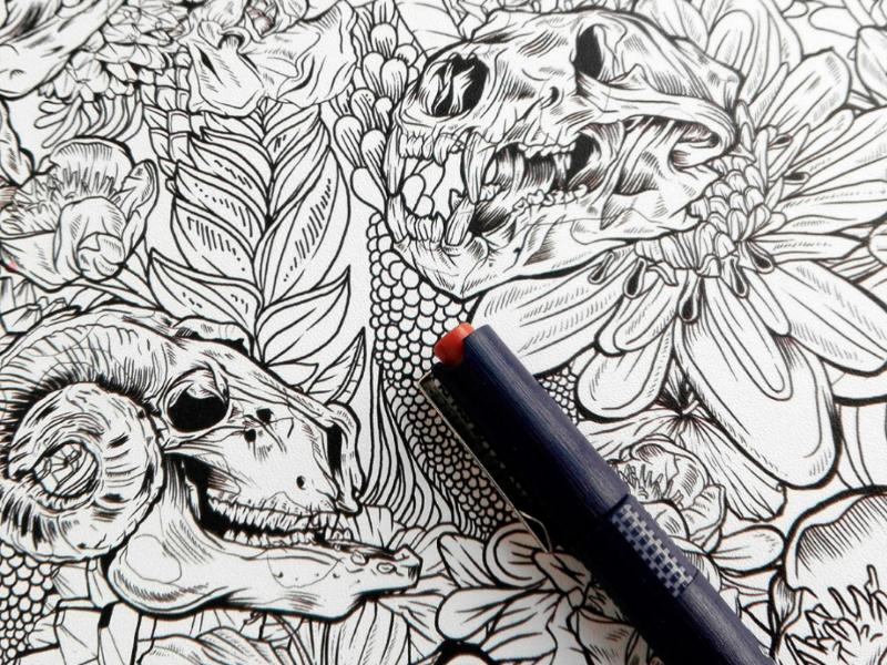 Skulls & Flowers flowers skulls illustration drawing inkwork