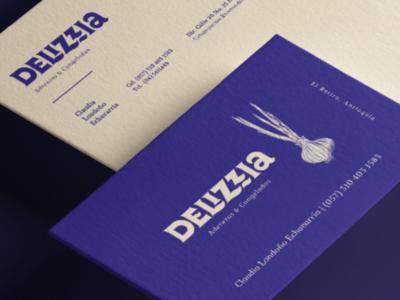 Delizzia branding logotype lettering wordmark deliciois garlic food blue branding